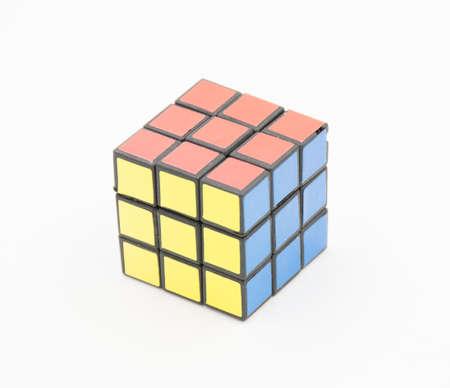 unsolved: colourful cube puzzle ,joyful toy Stock Photo