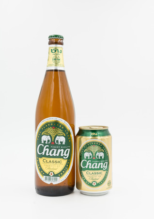 full bodied: BANGKOK, THAILAND -July 14, 2015:Chang Beer on white background produced of Thailand,Thai people like to drink because cheap and soft flavor.Chang classic,a full-bodied,full flavoured lager beer.