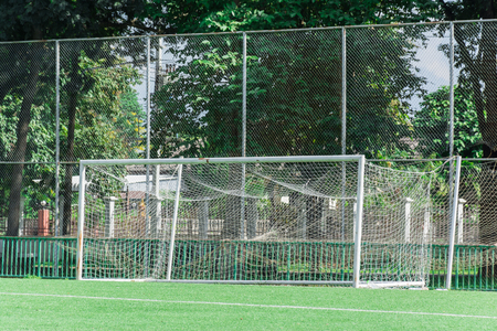 goalline: Vacant Football Goal Stock Photo