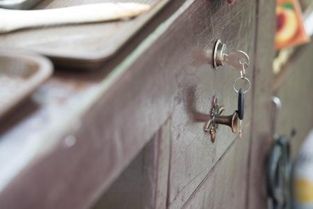 drawer: key in wood drawer Stock Photo