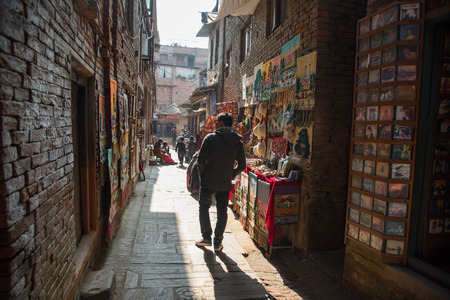 paveway: KATHMANDU,NEPAL -DECEMBER 24,2015 : Undentified man walk in tourist attraction in napel on December 24,2015