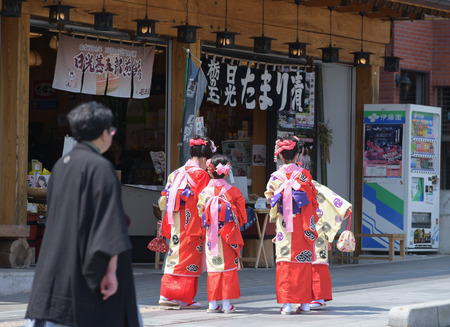 local festivals: NIKKO, JAPAN - APRIL 16: People of Nikko celebrate Yayoi festival on April 16, 2016 in Nikko where World-Heritage Shrines and Temples are located on  . It is a traditional event, which started in 767-770 and for 2016 year are cerebate 2 days on 16-17 Apri Editorial