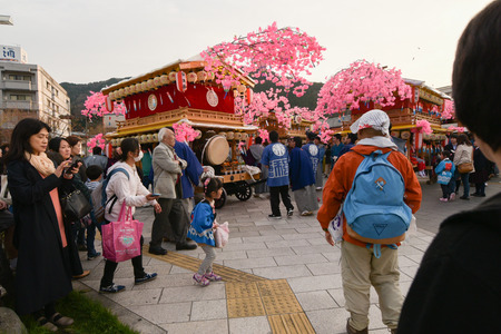 local festivals: NIKKO, JAPAN - APRIL 16: People of Nikko celebrate Yayoi festival on April 16, 2016 in World-Heritage Futarasan Jinja Shrine,Nikko Japan.It is a traditional event, which started in 767-770 .
