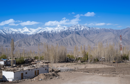 leah: Mountain Range in leh with town view. Stock Photo