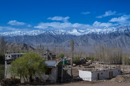 leah: Mountain Range in leh with town view