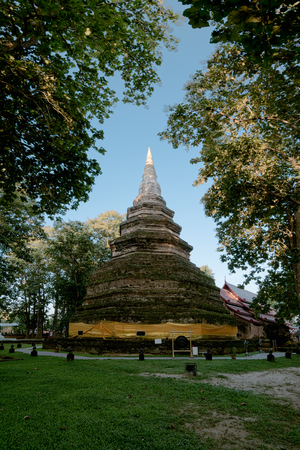 Wat Che Di Luang,This temple, with its large chedi, was probably the citys main temple during the citys heyday 650 years ago.Located in Chiang saen district,Chiang Rai,Thailand.