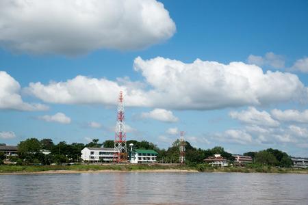 mea: View from boat on Mea Khong river border of Thailand and Laos.Chinag Sasen ,Chiang rai.