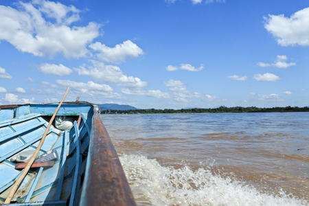 khong river: View from boat in Mae Khong river with beautiful sky and sunny day in border of Thailand and Laos.