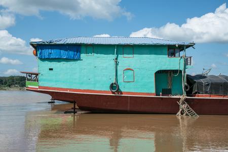 stern: Stern of steel transportation boat in Mae Khong River,Laos.