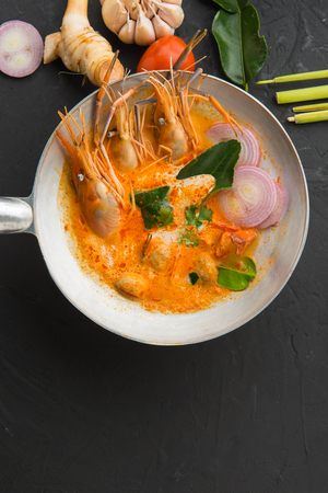 Tom Yum soup or tom yum goong, a Thai traditional spicy prawn soup (food),adjustment size for banner,cover and header. Banco de Imagens