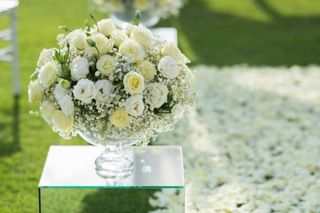 White rose flower bouquet decoration setup on wedding ceremony stock stock photo white rose flower bouquet decoration setup on wedding ceremony mightylinksfo
