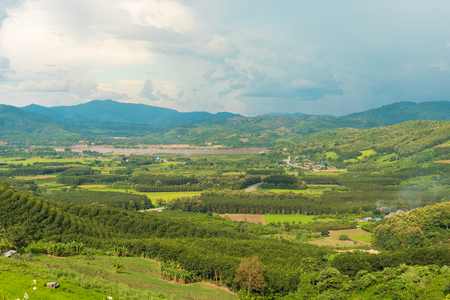 View of Chiang Khong district with khong river and Laos border and green mountain and nice sky