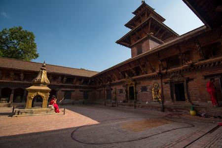 Kathmandu,Nepal -October 16,2018 : Square durbar in Patan, ancient city in Kathmandu Valley. Historically Patan, now Lalitpur Metropolitan City is the third largest city of Nepal.