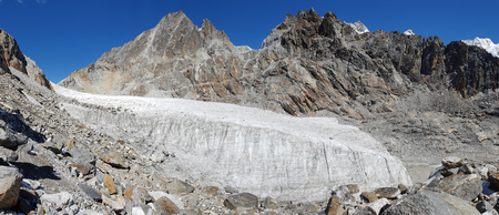 Panorama view of gokyo lake with glacier in everest base camp,Nepal Stock Photo