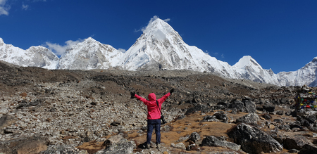 Trekker hand up two hands with Pumori mt. and Kala patthar view from Gorak shep village in background in Everest Base Camp,Nepal. Stock Photo