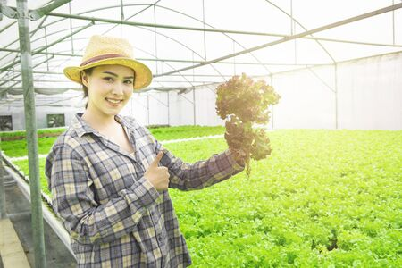 Portrait of asian woman farmer hand hold red oaks with thumb up and smile, gardener lady harvesting in greenhouse hydroponic farm. Small business entrepreneur concept