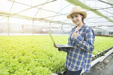 Portrait of happiness asian woman farmer or gardener with hand hold laptop in greenhouse hydroponic organic farm .Small business entrepreneur and organic vegetable farm and healthy food concept Banque d'images