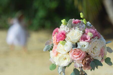 Bridal wedding flower bouquet arrangement decoration background for celebrate wedding or engagement ceremony, outdoors formal ceremony concept.