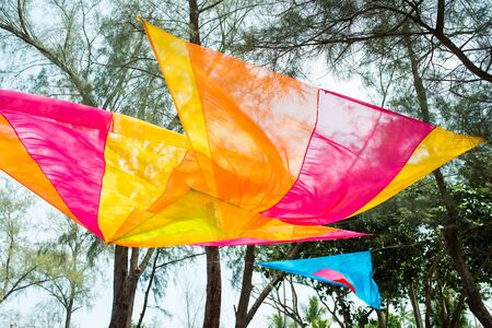 Colourful pastel elegant decor wedding venue set up outdoor with orchid flower and colorful table sheet for india wedding reception. Banque d'images