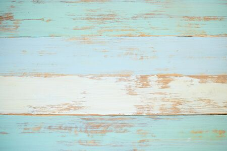 Empty pastel abstract blue wooden texture background image with copy space.