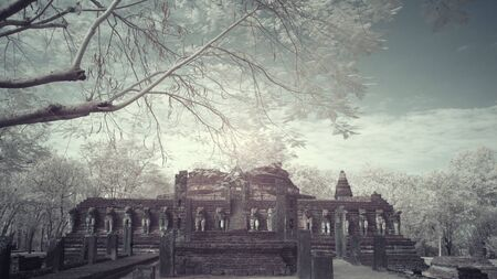 Infrared fine art photography of Sukhothai Kingdom Kamphaeng Phet Historical park attractions old city and national parks historic sites in Thailand,Photo process contain with some gain and noise.
