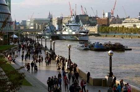 south london: LONDON - OCTOBER 11 2015: South Bank Riverside Scene, Southwark, London