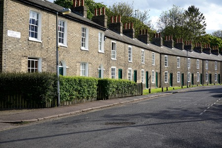 Row of terraced student housing in Cambridge, England. Editorial