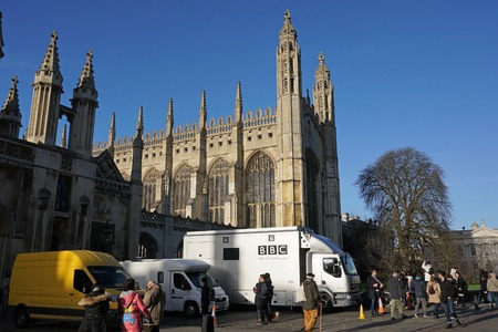 christmas carols: CAMBRIDGE, UK - DECEMBER 23 2015: A BBC crew sets up before the recording and broadcast of the annual Christmas Eve Carols From Kings concert, given in the historic chapel by the Kings College Choir. Editorial