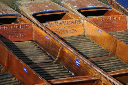 punting: CAMBRIDGE, UK - FEBRUARY 24 2016: Several punts belonging to Scudamores punting company, Cambridge, England, sit empty on a slow tourism day in winter.