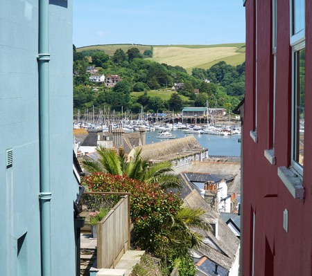 Dartmouth, Devon, View Between Colourful Buildings Stock Photo