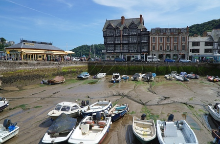 DARTMOUTH, UK - JULY 6 2016: Crowds throng the South Embankment harbour promenade in the coastal riverside town of Dartmouth, Devon. Several small boats sit in a sheltered harbour area, at low tide.