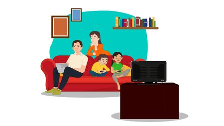 happy family sitting on couch- vector Illusztráció