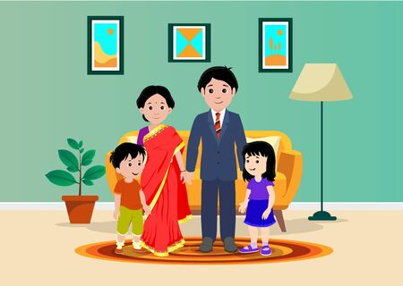 Happy Indian family illustration- vector Illustration