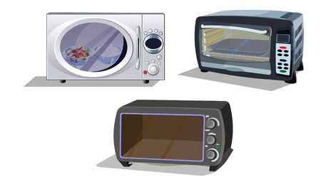 all kind of microwave ovens illustration- vector Illusztráció