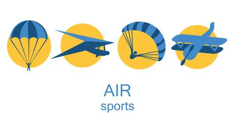 Jeu d'icônes de sport aérien. Banque d'images - 96982531