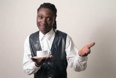 incidental people: Black waiter smiling Stock Photo