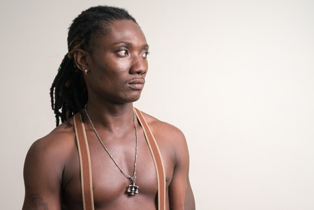 partially nude: Portrait of African partially nude man