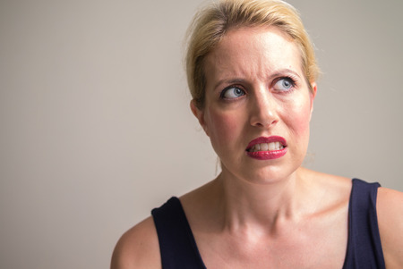 dissapointed: Portrait of woman Stock Photo