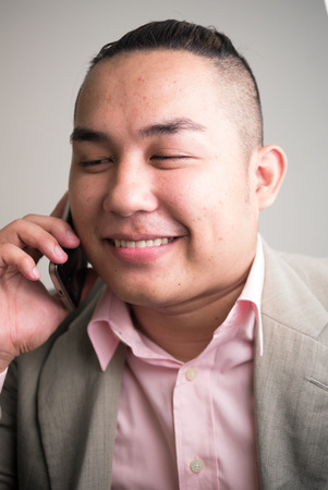 only mid adult men: Portrait of Asian overweight man