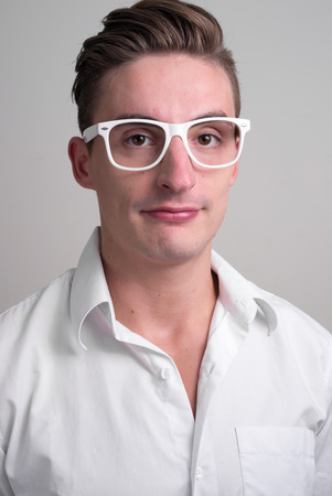 only young adults: Portrait of handsome man with glasses
