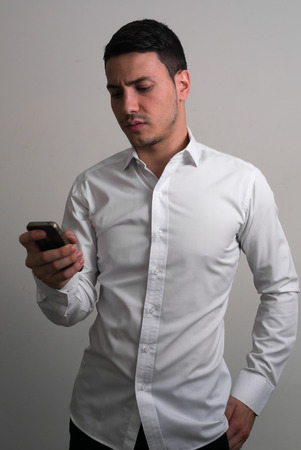 only one mid adult man: Business man using phone Stock Photo