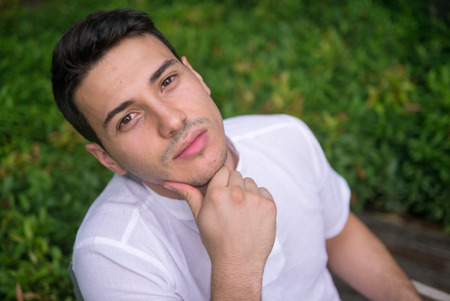 and the horizontal man: Handsome man outdoors horizontal shot Stock Photo