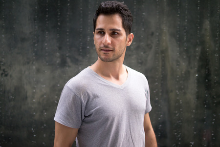 and the horizontal man: Middle Eastern handsome man outdoors horizontal shot Stock Photo