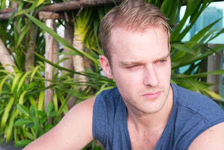 and the horizontal man: Handsome Caucasian man outdoors horizontal shot Stock Photo