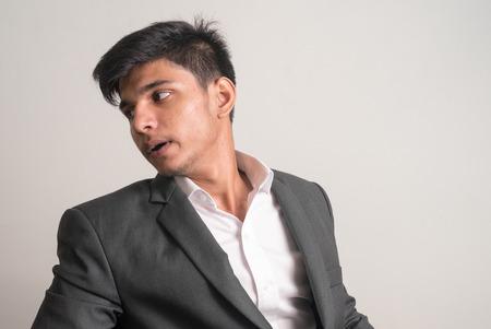 and the horizontal man: Young business man horizontal studio shot