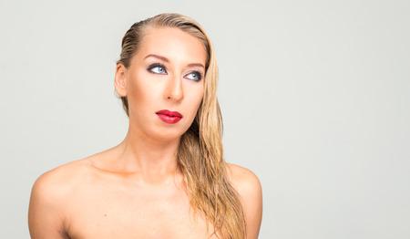 nude blonde woman: Portrait of nude blonde woman