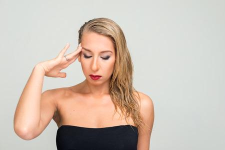voluptuous women: Blonde woman eyes closed