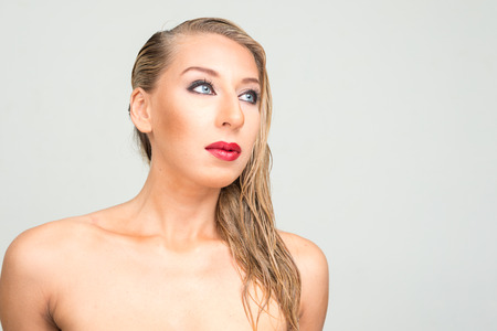 nude blonde woman: Nude blonde woman Stock Photo