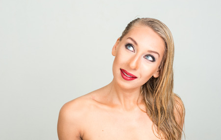 topless women: Naked blonde woman