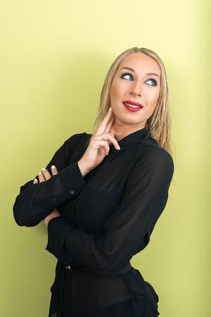 voluptuous women: Portrait of beautiful blonde woman Stock Photo